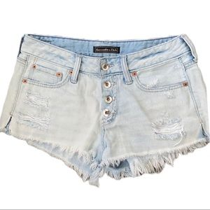 Abercrombie Button up Light Wash Distressed Short